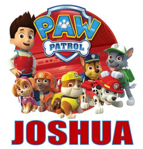 "Personalized Paw Patrol Iron On Transfer 5/""x5.25/"" For LIGHT Fabrics"