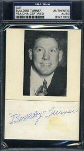 Bulldog Turner Vintage Signed Psa/dna 3x5 Index Card Cut Autograph Authentic