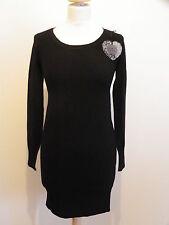 Robe d'hiver col rond noire laine cachemire coton neuf 38/40 ladydjou