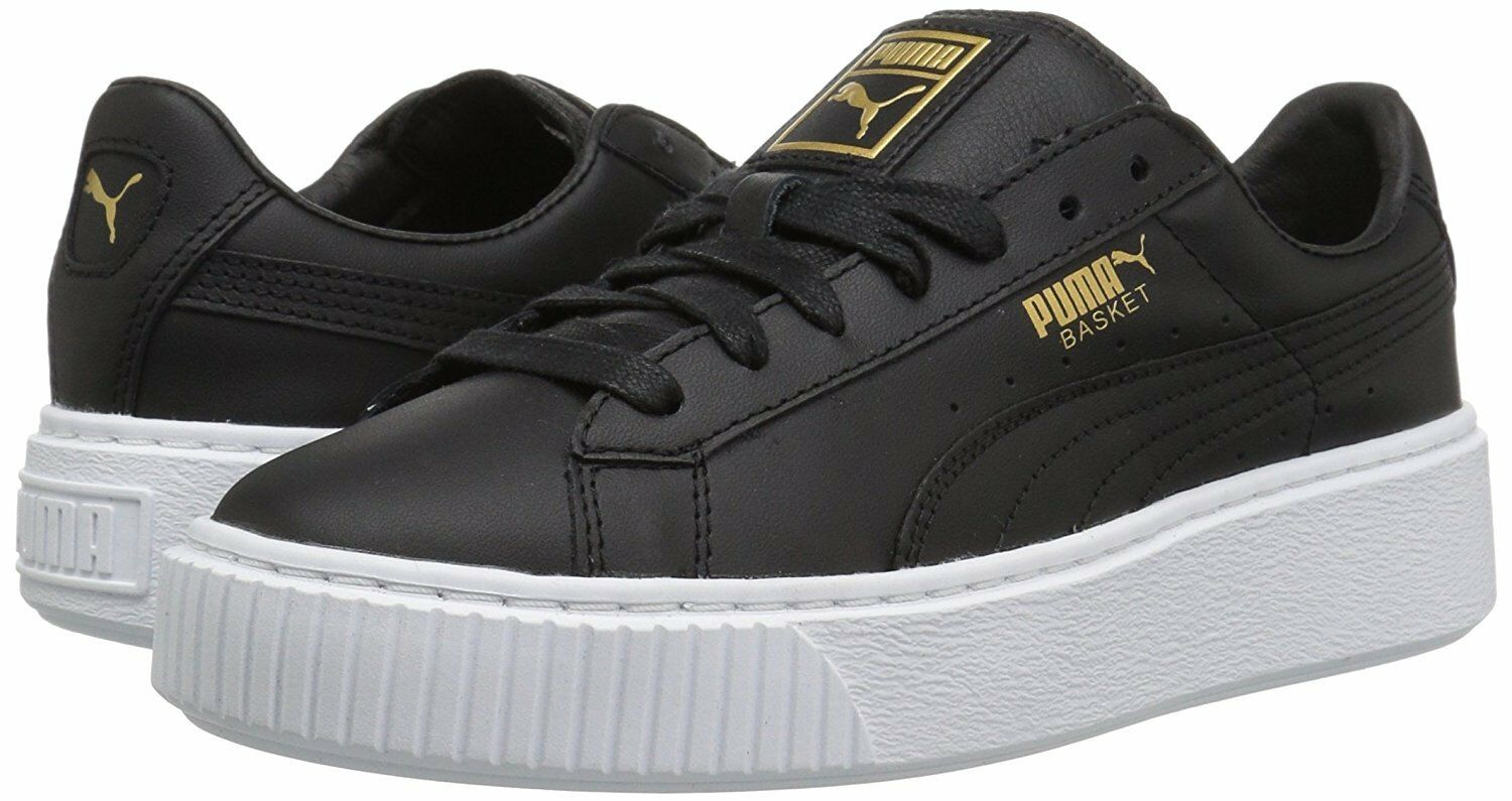 Women's shoes shoes shoes PUMA Basket Platform Core Leather Sneaker 36404003 Black gold New c72b7b