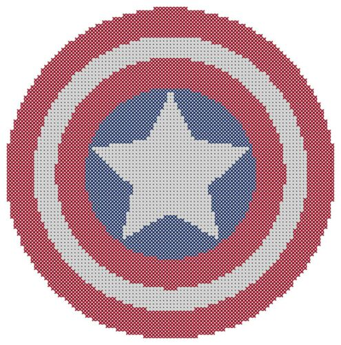 Free US Shipping Captain America Shield Counted Cross Stitch Pattern