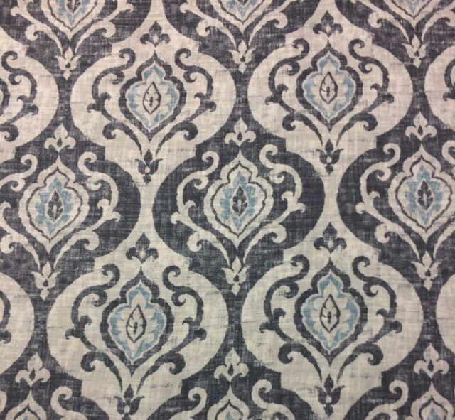 Ballard Designs Arryanna Slate Mineral Blue Cream Damask Fabric by ...