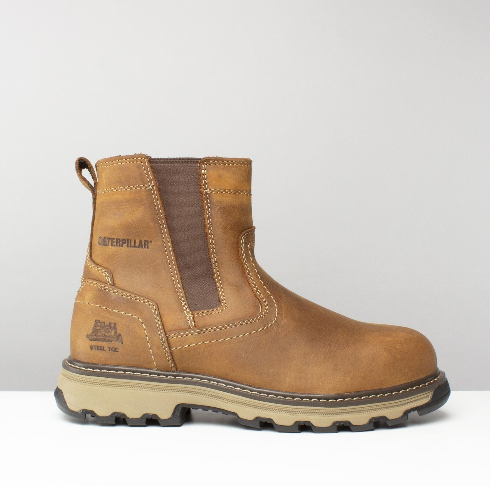 Cat ® PELTON Mens Leather S1 P HRO SRA Dealer Steel Toe Safety Boots Beige