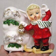 Vintage Christmas Planter Girl Skis Red Suit Lantern Snow Mound Fine A Quality