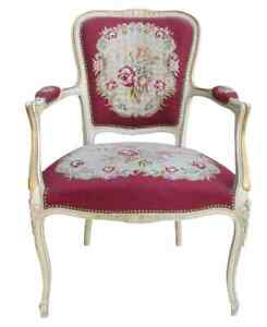 Image Is Loading French Antique Needlepoint Chair Armchair Antique Furniture