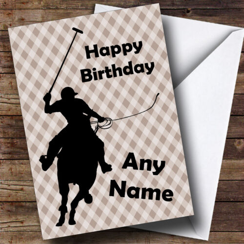 POLO PLAYER CHEVAL silhouette personnalisé Carte Anniversaire