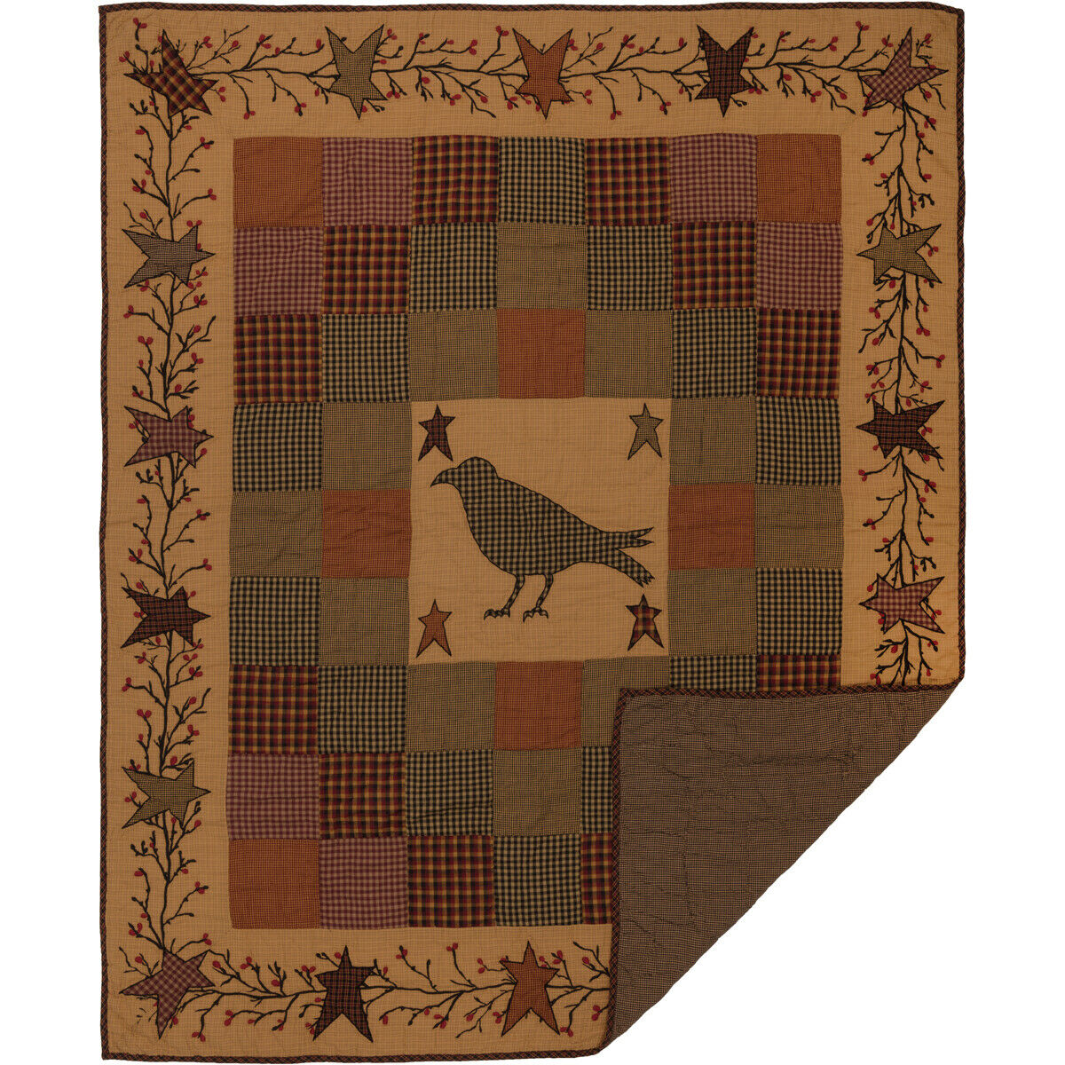 VHC Brands Heritage Farms Applique Crow and Star Quilted Throw 60  x 50