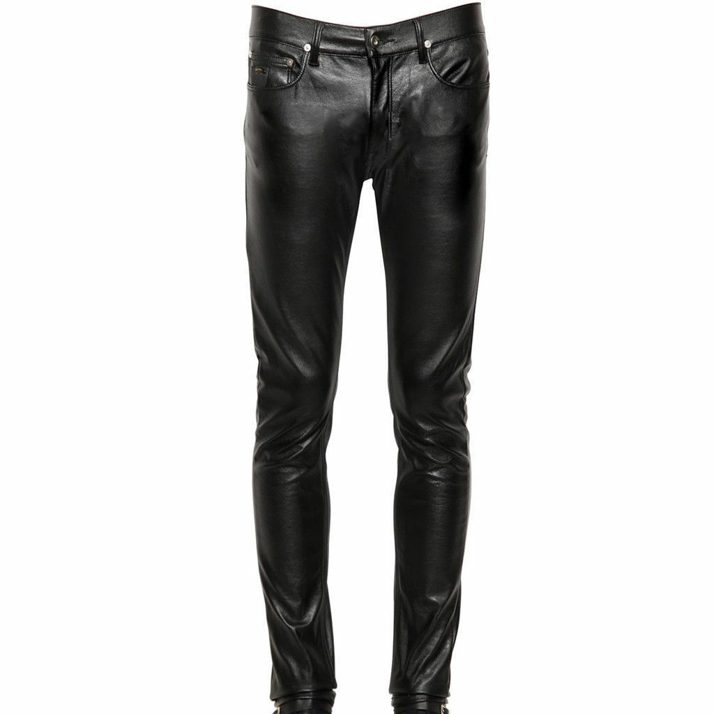 New Men's Genuine Soft Lambskin Leather Pants Sim Party Casual Pant P44