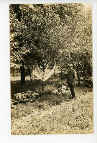 Army Ranger & Fruit Tree RPPC Antique Farm Photo ca. 1910s