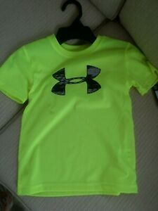 2955b16a Details about Under Armour Neon Yellow Heat Gear Sz 4 Classic T Shirt NWT