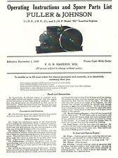 Fuller Amp Johnson Nc 15 25 Hp Gas Engine Motor Instruction Manual Parts List
