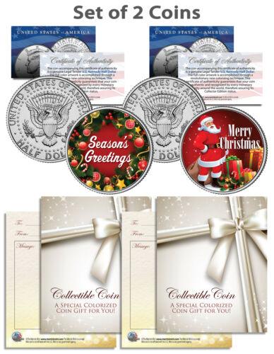 SEASONS GREETINGS SANTA Kennedy JFK Half Dollar US 2-Coin Set CHRISTMAS