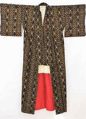 Meravigliosa Vintage Lunghezza Giapponese Kimono Nero/motivo 221 G Per Cancellare Il Fastidio E Per Estinguere La Sete