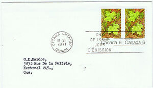 Canada #536(1) 1971 6 cent MAPLE LEAVES SUMMER FIRST DAY COVER