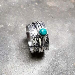 Turquoise-Ring-925-Sterling-Silver-Spinner-Meditation-Statement-Jewelry-A440