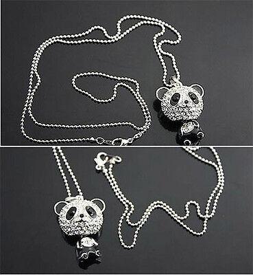Fashion Silver Plated Cute Pretty Enamel Rhinestone Panda Pendant Chain Necklace