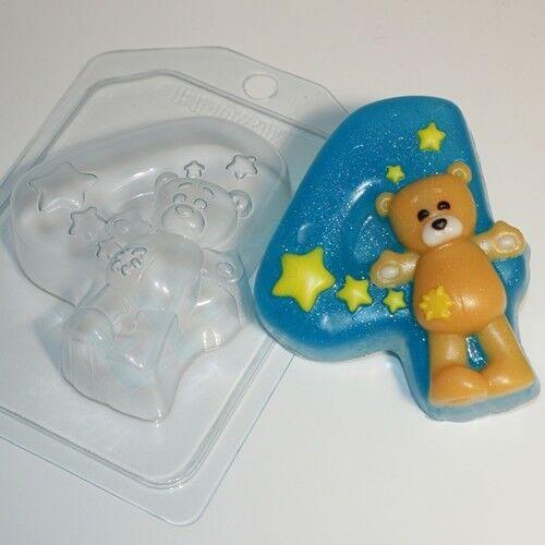 """/""""Teddy Bear//4/"""" jabón de plástico Molde Molde de fabricación de jabón"""