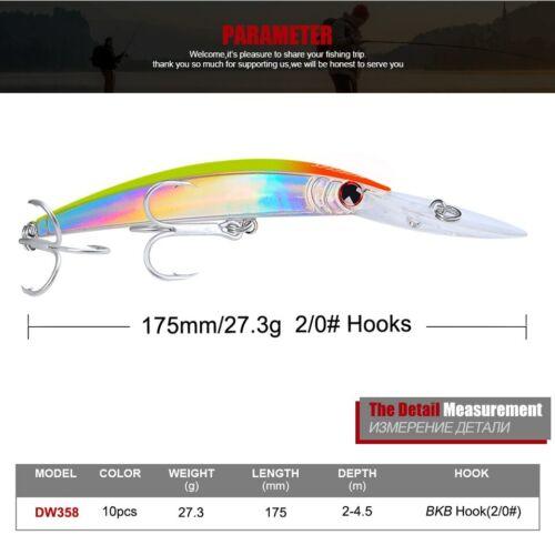 "Fishing Minnow Lures Hard Bait 7/""-17cm//27.31g Crankbaits Tackle Bass 2//0# Hook"