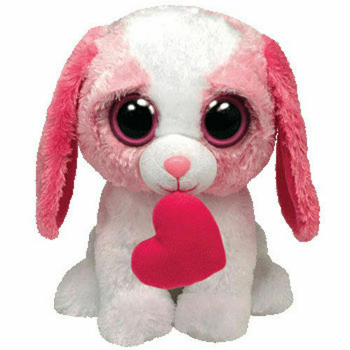 TY Beanie Boos -RARE - COOKIE the PINK Dog with Heart (Solid Eye color) (Medium