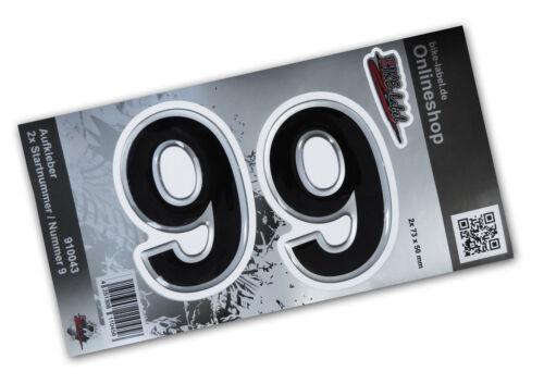 Edle 3D Aufkleber Startnummer//Tür//Hausnummer 910043 in Silber 2x Nummer 9