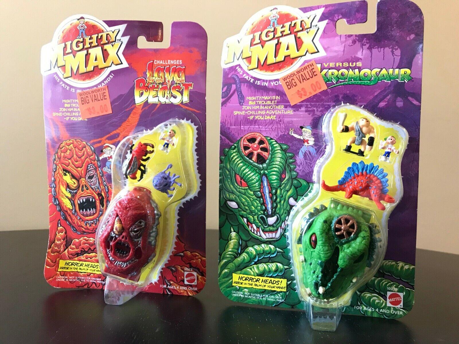 Mighty Max Horrorheads   Lava Beast and Kronosaur MOC Case NIB