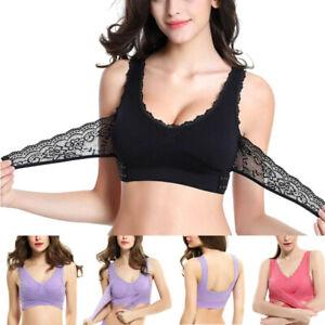 Women Sports Bra Front Cross Side Buckle Lace Vest Wireless Yoga Tank Crop Top