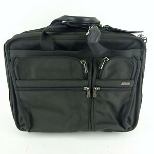 Tumi Black Expandable Rolling Deluxe Briefcase Laptop Carry On Bag 26003D4