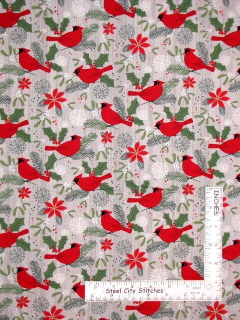 Seasons Greetings Poinsettia Holly Cardinal Birds Metallic Panel Cotton Fabric