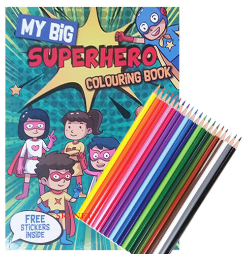 KIDS BOYS GIRLS XLARGE MY BIG SUPERHERO COLOURING BOOK ACTIVITY STICKERS PENCILS