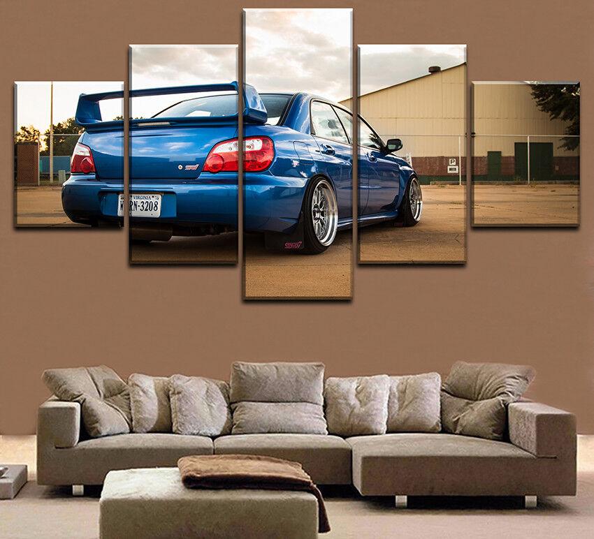 Blau Subaru Sti Car 5 Panel Canvas Print Wall Art