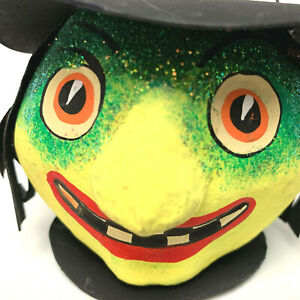 Vintage-Dept-56-Green-Witch-Mache-Candy-Container-Pail-Halloween-Decor
