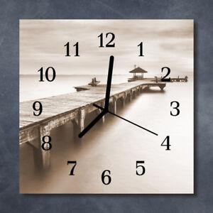 Glass-Wall-Clock-Kitchen-Clocks-30x30-cm-silent-Wooden-Bridge-Grey