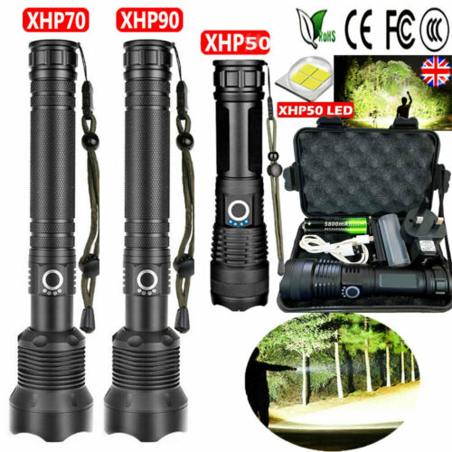 900000 Lumens xhp90 xhp70 LED Ultra Bright 18650 Powerful USB Flashlight Torch