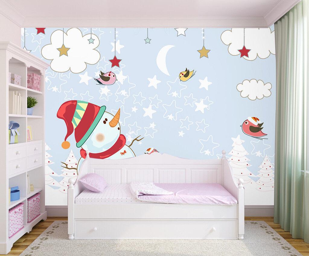 3D Snowman Cloud 713 Wallpaper Murals Paper Wall Print Wallpaper Mural UK