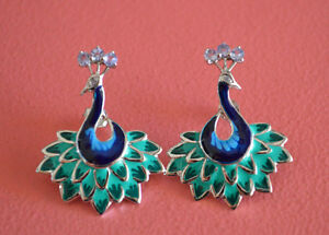 925-Sterling-Silver-Stud-Rhodium-Plating-Tanzanite-Gem-Stones-Peacock-Earrings