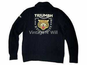 Lucky-Brand-Mens-M-Black-Triumph-Motorcycle-Tiger-Logo-Full-Zip-Shawl-Sweater