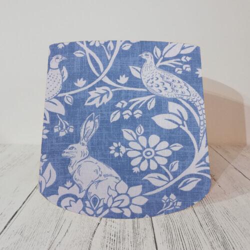 Empire Lampshade Heathland Indigo Blue Rabbit Pheasant Wood Fabric Handmade