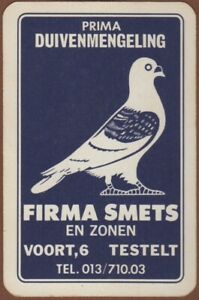 Playing-Cards-1-Single-Card-Old-Vintage-FIRMA-SMETS-Advertising-Art-PIGEON-Bird