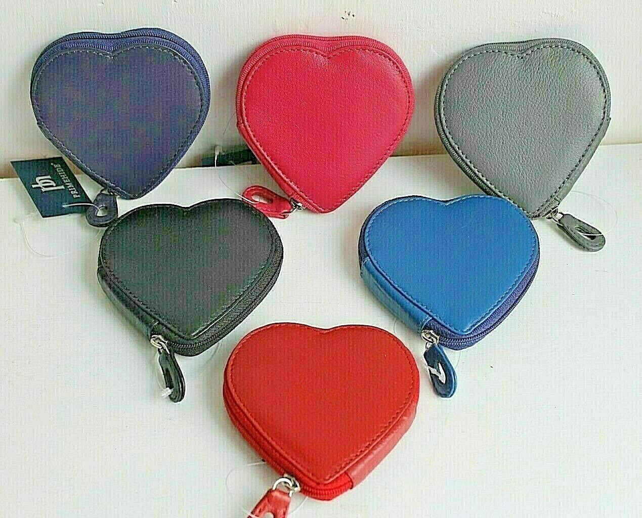 Leather Zip Around Heart Shaped Coin Purse by Prime Hide