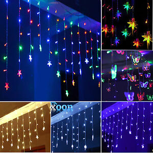 96 LED Star Hanging Curtain String Lights Fairy Lamps Santa Christmas Decoration eBay