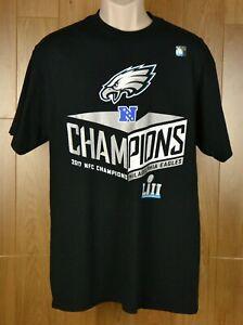 5f75fad0 Details about Philadelphia Eagles 2017 NFC Champions Graphic T-Shirt Black  Men's Size Large