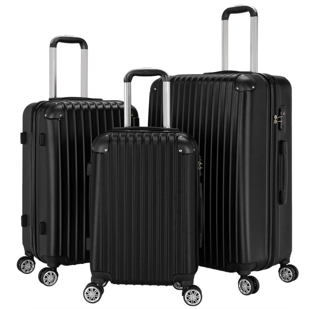 Ceilo Travel 3 Pieces ABS Luggage Sets with TSA Lock Lightweight 360/°Durable Spinner Suitcase 20 24 28 3PCS Black