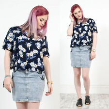 WOMENS VINTAGE 90'S NAVY BLUE FLORAL PATTERNED ROUND COLLAR SHIRT BLOUSE 16