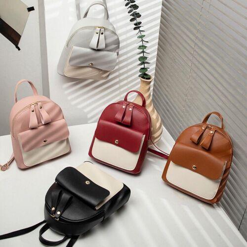 Women Girls School Bag PU Leather Backpack Mini Rucksack Travel Handbag Purse tw