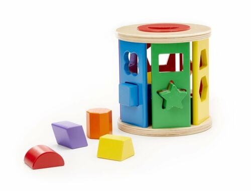 Classic Wooden Toy 19041 Melissa /& Doug Match and Roll Shape Sorter
