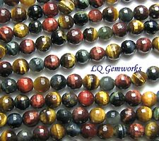 """15.5"""" RED BLUE GOLD TIGER EYE 8mm Faceted Round Beads"""