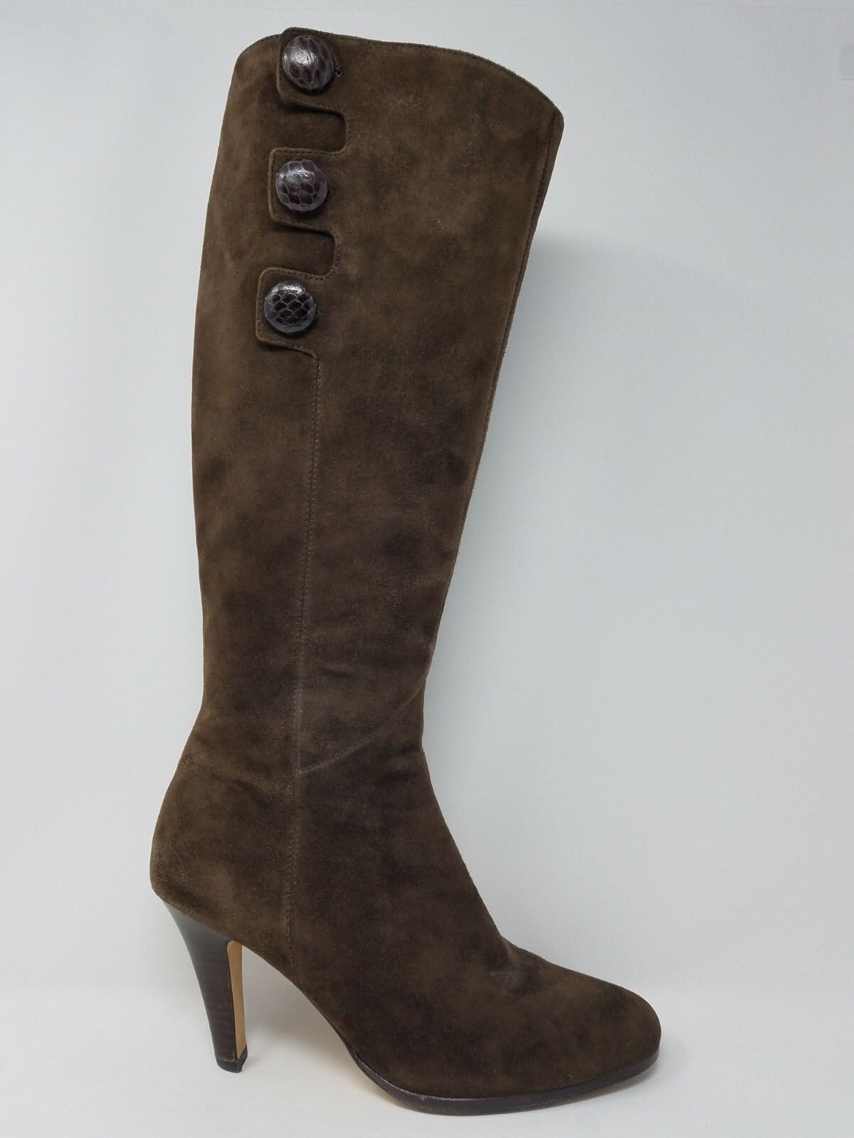 Cole Haan Air Womens Knee High Boot Size 7.5 Brown Suede Leather Zip Up