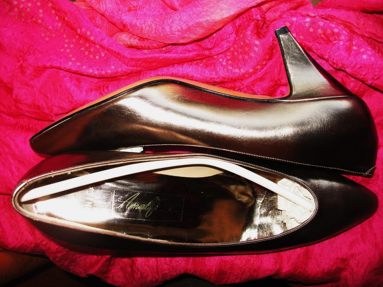 AMALFI Schuhe BRONZE LEATHER CLASSY PUMPS   SIZE 7.5B/38 MADE IN ITALY