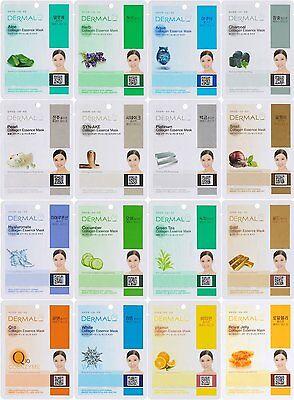 Dermal Korea Collagen Essence Full Face Facial Mask Sheet - 16 Combo Pack