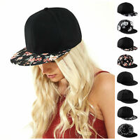 Baseball Cap Flat Peak Snapback Hat Rapper Hip Hop Pattern Floral Mens Womens